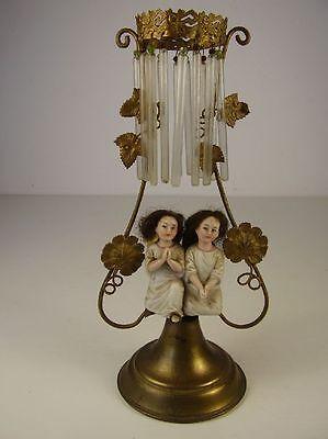 Antiker Aufsteller mit Porzellan Engel wohl Böhmen um 1880