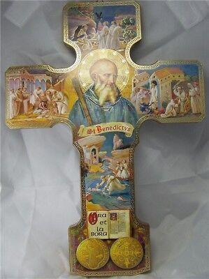 (New St. Benedict Wood Cross Crucifix Life of Saints NR!)