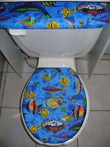 Tropical Fish Sea Ocean Fabric Toilet Seat Cover Set EBay