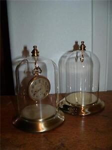 Domed Pocket Watch Display Stand Antiqued Brass Glass Dome