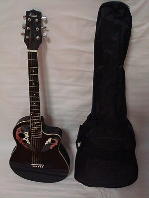 6 String Acoustic Electric Guitar, Round Back, Free Gig Bag, Black on Rummage