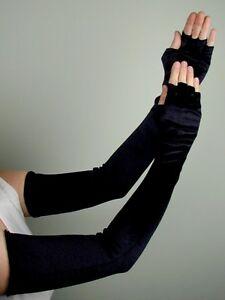 OPERA-LONG-Length-VELVET-FINGERLESS-Gloves-BLACK