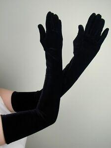 OPERA-LONG-Length-STRETCH-VELVET-Gloves-BLACK