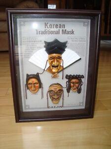 Korean Daejin Masks Play Hahoe Byeolsin Shadow Box Kitchener / Waterloo Kitchener Area image 1