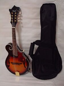 Hand Carved Solid Spruce Top F Style Mandolin, Free Gig Bag, Sunburst