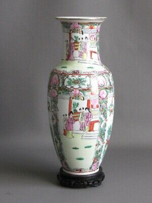 Vintage Jar Porcelain Painted with Base Wood Manufacture Chinese Xx Century