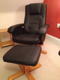 Faux leather recliner chair and footstool