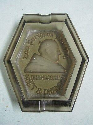 ANTIQUE GLASS ASHTRAY ADVERTISEMENT TO CHAMPAGNE DOM PERIGNON