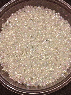 50g glass seed beads - Clear Rainbow - approx 2mm (size 11/0) craft