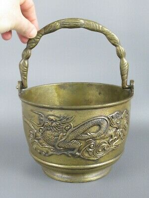 Vintage Bucket Vase Fusion Brass With High Relief Figure Dragon Xx Century