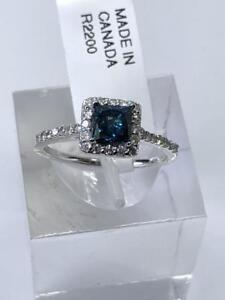 14k White Gold Blue Diamond (0.64ct) w/ Side Diamonds Ring
