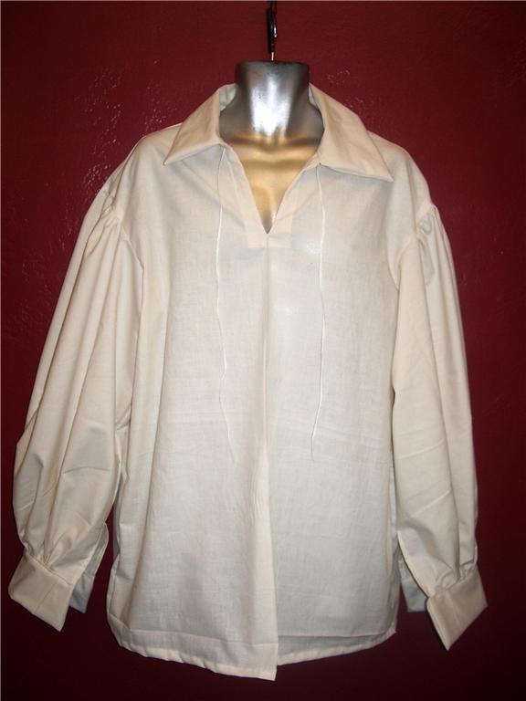 Jack Sparrow Renaissance Peasant Pirate Poet Costume Shirt Large