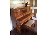 Walnut solid wooden piano and stool