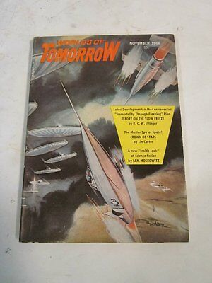 VINTAGE NOV 1966 WORLDS OF TOMORROW MAGAZINE COVER ART BY DEMBER