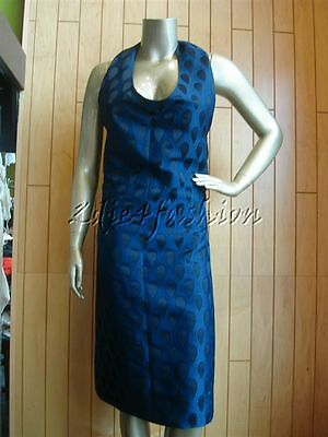 $4790 New YSL YVES SAINT LAURENT Blue Black Embroidered Tear Drop Dress 8 40