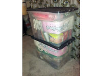 LARGE QUANTITY (Approx 115) OF ARTIFICIAL HAIR PIECES AND EXTENSIONS IN TWO PLASTIC HOPPERS