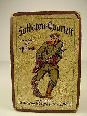 Antikes Soldaten Quartett in OVP + Anleitung 1 WK vor 1918