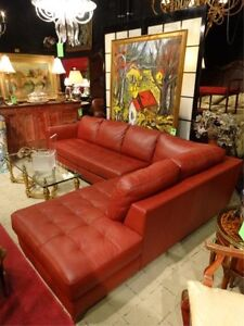 Red faux leather sectional with left chaise for sale
