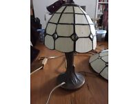 Pair of Tiffany Style Lamps and Uplighter