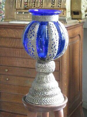 Elegant Candelabra Lantern Lamp Light Islamic Blue Glass Brass and Silver