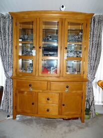 Polished solid wood upright display cabinet