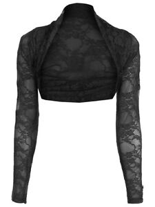 LADIES CROPPED LACE LONG SLEEVE SHRUG WOMENS BOLERO LACE JACKET CARDIGAN TOP