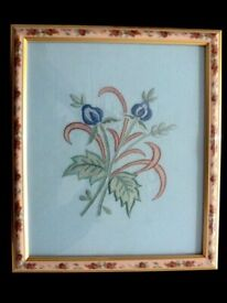 WALL HANGING Small Floral Embroidery Artwork Framed Each WALL HANGING FROM