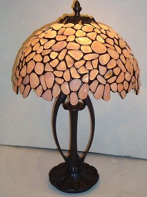 ACCEPTING BEST OFFERS! BEAUTIFUL GEN EUROPEAN PINK ROSE QUARTZ BRONZE CAST LAMP!