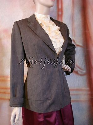 $1950 New YSL YVES SAINT LAURENT Charcoal Gray Wool Tweed Blazer Jacket 38 6
