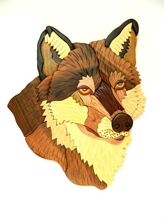 Wolf Head Wild Animal Intarsia Wood Wall Art Home Decor Plaque Lodge New