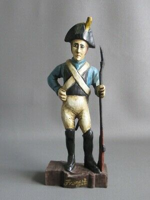 Special Vintage Statue Wood Figure Soldier French Painting Period Xx Century