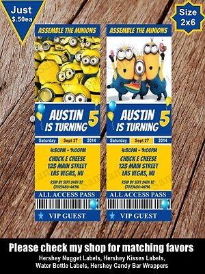 Minions Ticket Style Invitation Birthday Personalized Invites Birthday Party - Personalized Minion Birthday Invitations