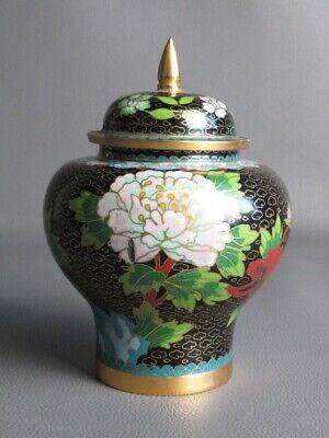 Vintage Jar Potiche Chinese Brass & Enamel Cloisonne Mosaic Blossom
