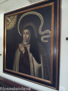 Cuadro-Religioso-SANTA-TERESA-DE-JESUS-siglo-XVll-Restaurado-Reentelado-Antiguo