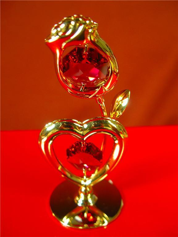 Heart/Rose 24K Gold Plated and Austrian Crystal Heart Rose Standing Figurine New