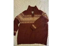 mens fatface jumper size xl in excellent condition red/brown and white