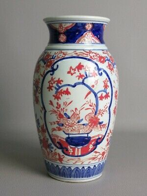 Antique Jar Eastern Ceramics Enamel Painted Blue & Red Xx Century
