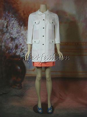 $2750 New with Tags DOLCE & GABBANA White Frayed Raw Edge Trim Coat Jacket 8 42