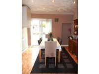 6/8 seat extendable dining table - and 3 chairs