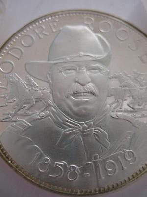 7/8-OZ  PRESIDENT THEODORE (TEDDY) ROOSEVELT MASONIC ART COIN SILVER.925 + GOLD