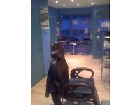 3 black contemporary Guardsman barber chairs for sale - Price is per chair, grab yourself a bargain