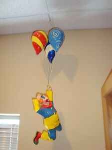 """Imported Mexican Paper Mache Hanging Clown & Balloons - 34"""" tall"""