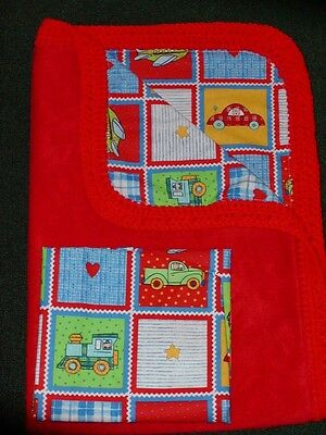 CRIB QUILT/COTTON CRIB SHEET/HANDCRAFTED - CAR,PLANES, AND TRAIN BLOCKS