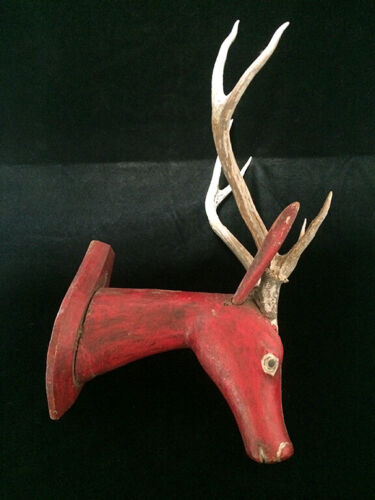 ANTIQUE INDONESIAN WOODEN CARVED DEER HEAD  A335