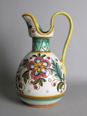 Vintage Vase Decorative Majolica Italian Signed Ars Deruta Pitcher Painted