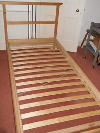 Single bed. Ikea design. Very good condition. Wood sprung slats. Mattress if desired, included.