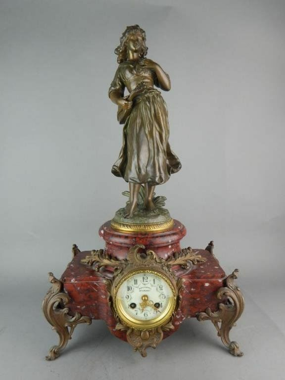 Bronze French Victorian Figural Clock Signed Porcelain Dial