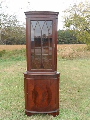 Antique Style Mahogany Corner Cabinet Cupboard Hutch Bow Front Glass Door