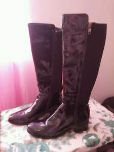 Black Patent Leather Boots  Size 9. Purchased from Browns