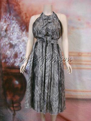 $3895 New DOLCE & GABBANA Sexy Gray Art Print Halter Flowy Silk Dress 10 44